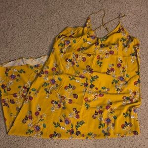 Old Navy yellow gold floral maxi dress